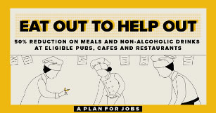 Eat out to Help Out - 50% reduction on meals and non-alcoholic drinks at eligible pubs, cafes and restaurants